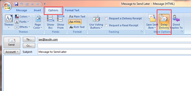 Baydin Blogs about Email – Defer Sending a Message in Outlook
