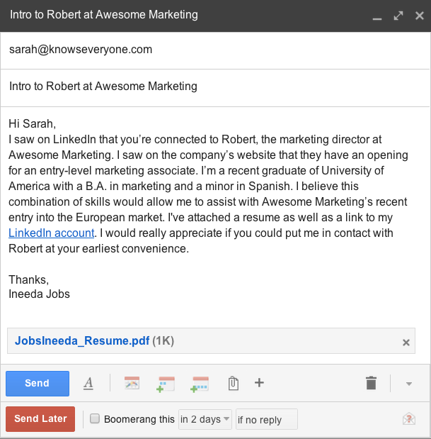 how to write an email asking for job description